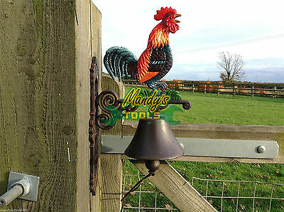 Cast Iron Painted Cockerel Chicken Hen Bell for Doors Gate Posts Farms XCOBK
