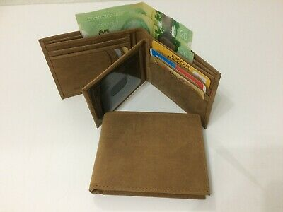 Mens Genuine Leather Wallet w/ 11 Credit Cards Holder - TAN (AE-08)