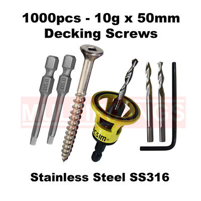 1000pcs - 10g x 50mm Stainless Steel  316 Type 17 Decking Screws + Clever Tool