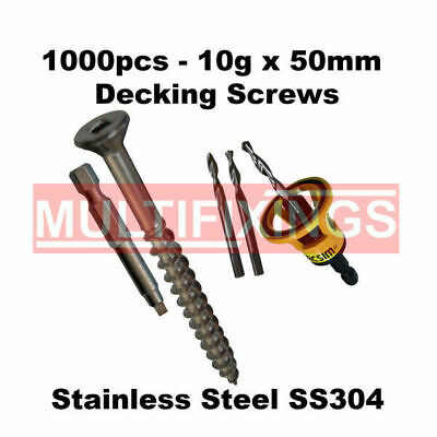 1000pcs - 10g x 50mm Stainless Steel Type 17 Decking Screws + Clever Tool