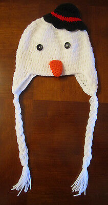 Handmade Crochet Knit Hats For Babies & Kids-Snowman With Hat-Sizes 0-8 Years