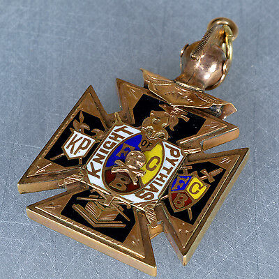 Knight of Pythias Fraternal watch Fob Enameling Gold-filled 1890-1920 pendant