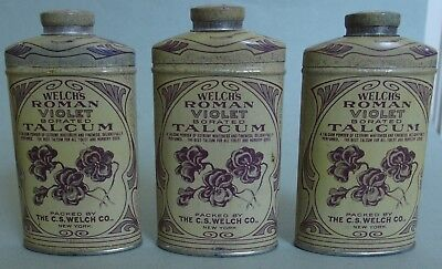 Three Pretty Welch's Roman Violet Talcum Powder Advertising Tin Mint, Nos, Full