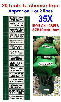 35x Iron-On Name Labels Tags Printed for School Nursing Home (Appear on 2 lines)