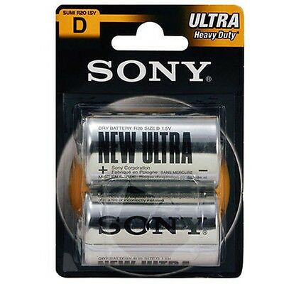 GENUINE OFFICIAL SONY ULTRA HEAVY DUTY D BATTERIES CELL R20 1.5v 2 PIECES PACK