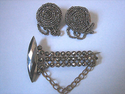 Antique Georgian/Early Victorian Cut Steel Brooch/Pin & Cut Steel Shoe Clips