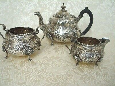English Sterling Siilver 3 Piece Tea Set Made in London 1893