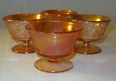 Vintage Carnival Glass Irridescent Normandie Sherbert Glasses - Bowls 4