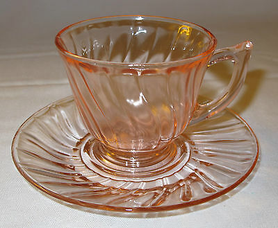 Vintage Depression Glass Pink Swirl Cups & Saucers 4