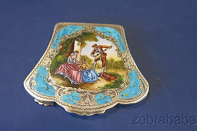 Antique Vintage Sterling Enamel Compact 800 18th Century Scene Man Young Lady