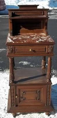 Beautiful French Antique Walnut Marble Top Bedroom Set Night Stand - Dr112
