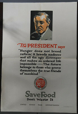 WW1 United States Food Administration Poster The President Wilson Says Save Food