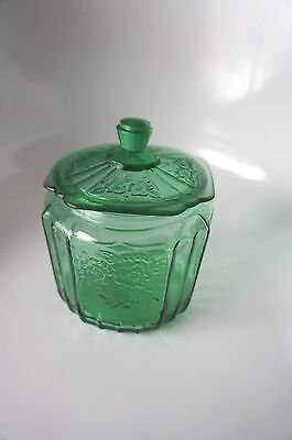 Estate Find!! Retro Green Glass Canister With Floral Accent