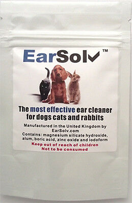 EarSolv Dog Ear Drops Powder Cleaner Mites Wipes Wax Mites Cleanser Clean Sachet