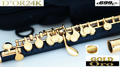 Piccolo Flöte Gold  24 k 999 Gold, Gold Flute, FLAUTA ORO,Flûte d'Or 24 YAMA. AT