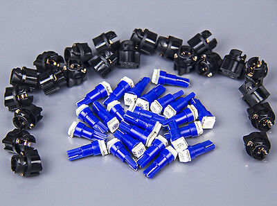 20Pack Twist Socket Blue PC74 T5 led 5050 SMD Instrument Panel Cluster Light kit