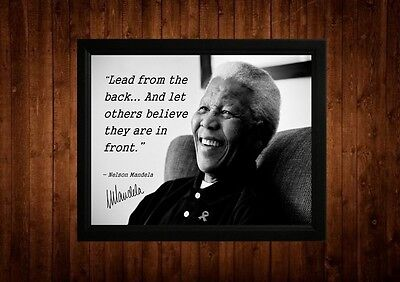 Nelson Mandela Lead From The Back Signed Framed Pp Quotes A4 Print Gift Ideas