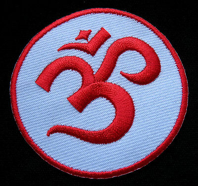 #07 Colorful Aum Om Symbol Hinduism Embroidered Iron on Patch Free Postage