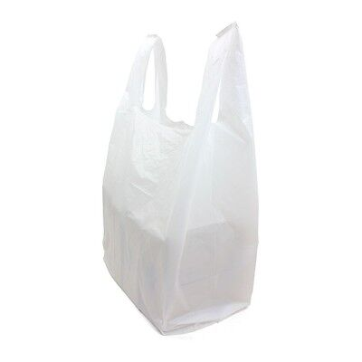 "100x Small White Vest Carriers 8""x13""x18""  Premium Plastic Carrier Takeaway WP15"