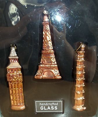 Historical Buildings Glass Ornaments Set of 3
