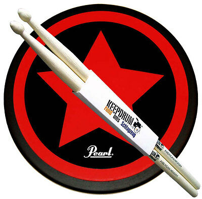 "Pearl PDR-08SP Practice Drum Pad Übungspad 8"" + Keepdrum 5A Drumsticks"