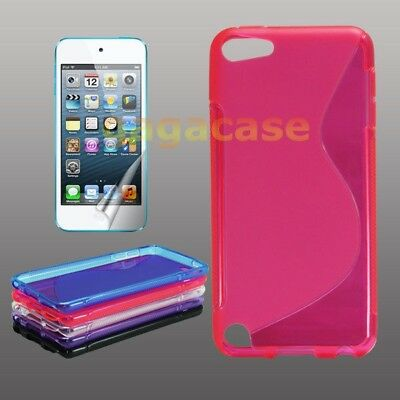 Pink TPU Gel Skin Case Cover + Screen Protector iPod Touch 5 6 Generation