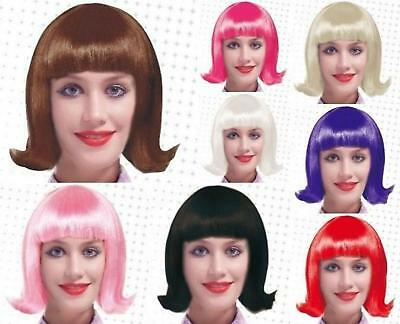 SHORT 50s 60s COLOURED FLICK WIG BOB PINK BLONDE PURPLE WHITE BLACK BROWN RED