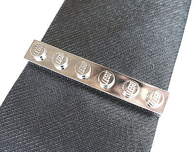 Chrome Silver Tie Slide made with LEGO bricks weddings groom cufflinks pin clip