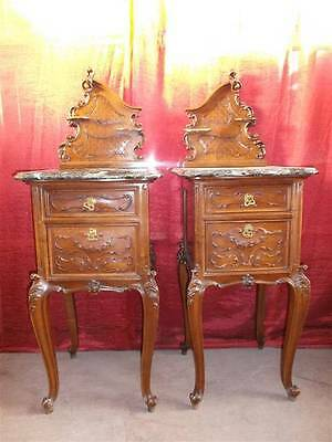 Beautiful Carved Antique Italian Marble Top Bedroom Set Night Stands  - 13It087C
