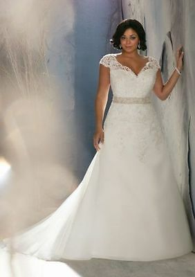 New Plus Size White/Ivory Wedding Dress Ball Gown Custom Made