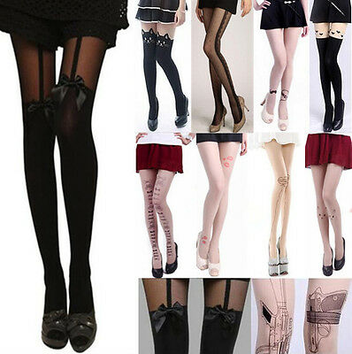 New Sexy Fashion Pantyhose Design Pattern Printed Tattoo Stockings Tights