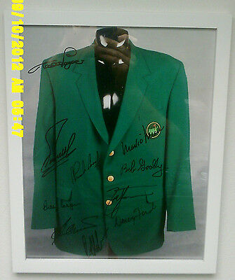 Masters Tournament Jacket Framed 11X14 Photo + Signed by 10 Champion Golfers