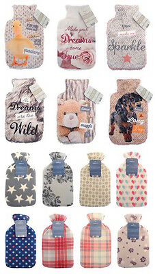 Brand New Large Hot Water Bottle With Beautiful Cover - 2L - Different Colours