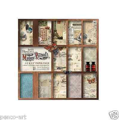 Papermania 12x12 scrapbooking paper Madame Payraud 32 sheet in16 designs 160gsm