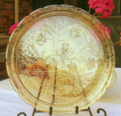 Floragold Lousia Glass Large SERVING PLATE, 1950 Jeanette Glass Co