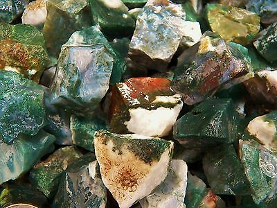1000 Carat Lots of Green Moss Agate Rough - Plus a FREE Faceted Gemstone