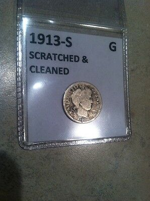 1913-S Key Date BARBER DIME Low Mintage Good Details Free Ship USA UC-694 !!