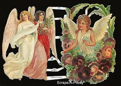 German Embossed Vintage Style Scrap Die Cut Relief-Easter Christmas Angel EF7085