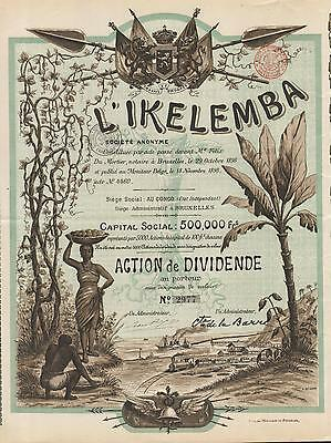 AFRICA CONGO EXPORT COMPANY stock certificate L' IKELEMBA 1898 GORGEOUS & RARE