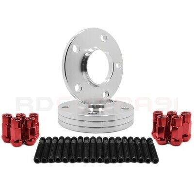 4 Pc BMW 12 MM Wheel Spacers & Stud Conversion W/ RED Racing Lug Nuts USA MADE