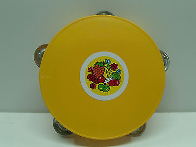 Vintage 70's Greek Baby Toy Plastic Tambourine Mint