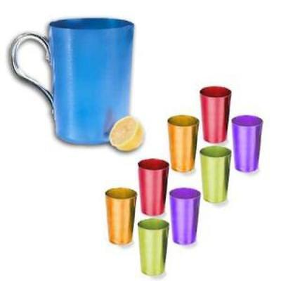 Retro Aluminum Tumblers And Pitcher Set (9Pc Set)