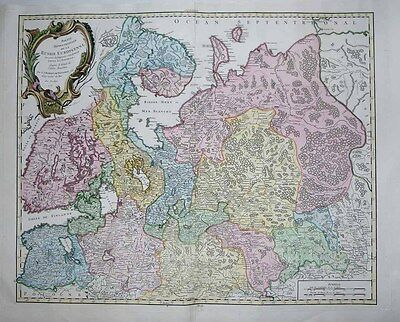 1753 Vaugondy Map NORTHERN RUSSIA + FINLAND Decorative Map - Russian Cartography
