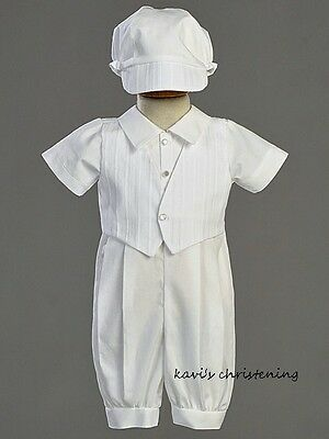 Boys White Christening Baptism Cotton Outfit Suit Vest Suit New Size 0-18M