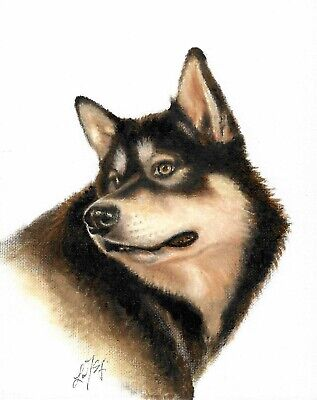 NEW Original Oil DOG Portrait Painting ALASKAN MALAMUTE Art Artwork SIGNED