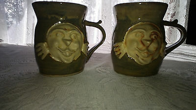 Pair of Hand Thrown Stoneware Mugs Helios Face Goldenware Pottery, Orl. Fl