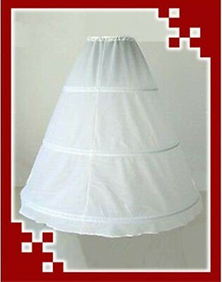 White 3-Hoop 1-Layer Wedding Dress Petticoat - Clearance !