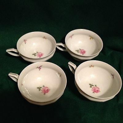 LOT OF FOUR VINTAGE ROSENTHAL SELB GERMANY MARIA FOOTED CUPS WHITE ROSES