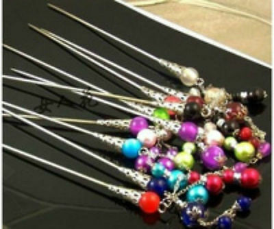 100PCS Wholesale prices- Various Design color beads and Tibet Silver Hair Sticks