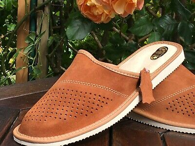 *Brown Slipers Men's100%Leather Cozy Warm FlipFlop Home